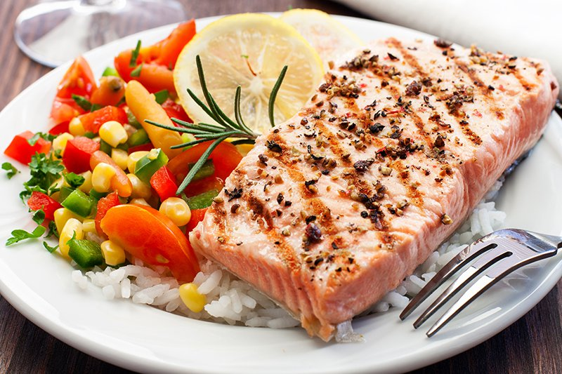 Steamed and Grilled Salmon